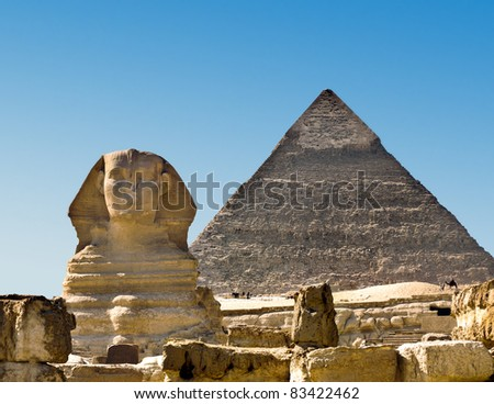Sphinx and Pyramid - stock photo