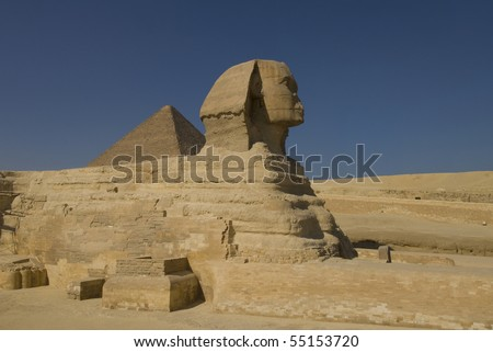 Sphinx and pyramid in Giza, the only one of the Seven Wonders of Ancient world