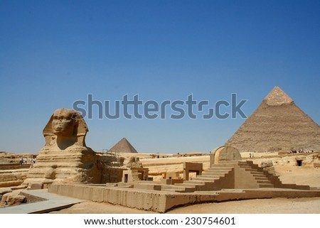Sphinx and Pyramid in Giza, unesco world heritage, Egypt  - stock photo