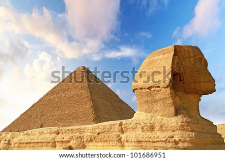 Sphinx and Pyramid of Chefren in Giza, Egypt
