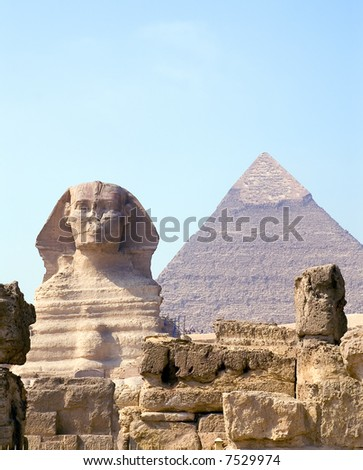 Sphinx and Pyramid of pharaoh Chephren, Giza, Egypt - stock photo