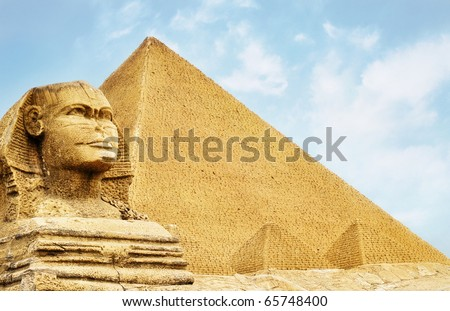 Sphinx and the Pyramids - stock photo