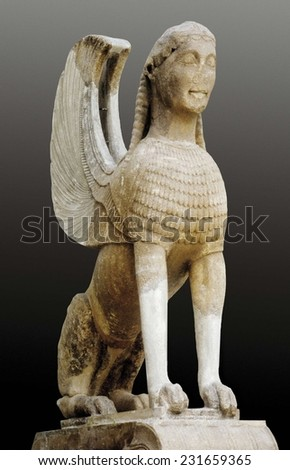 Sphinx of Naxos, ca. 570 BC, Archaic Greek art, Sculpture on marble