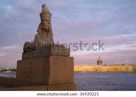 Sphinx on embankment of the river Neva in St.Perersburg. Russia - stock photo