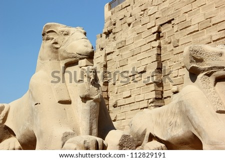 Sphinxes. The Karnak Temple Complex in Luxor, Egypt.