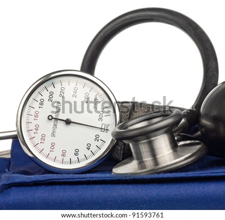 Sphygmomanometer and stethoscope kit used to measure blood pressure isolated on white - stock photo