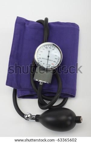 Sphygmomanometer close up,over white - stock photo
