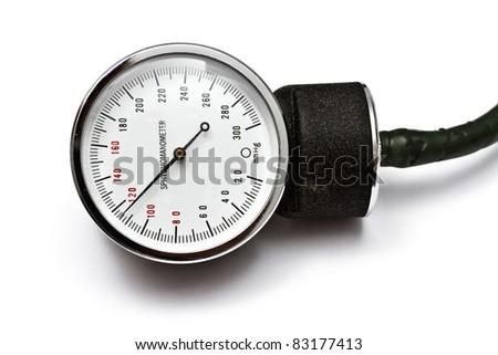 Sphygmomanometer closeup on white background - stock photo
