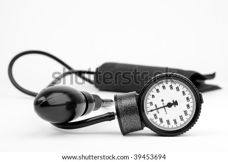 Sphygmomanometer for blood pressure on white - stock photo