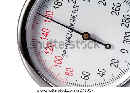 sphygmomanometer indicating high blood pressure - stock photo