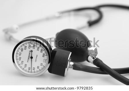 sphygmomanometer stethoscope blood pressure meter medical tool - stock photo