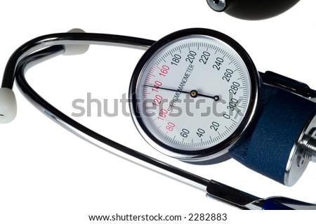 sphygmomanometer with stethoscope isolated on white background - stock photo
