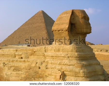Sphynx and pyramids in Giza.