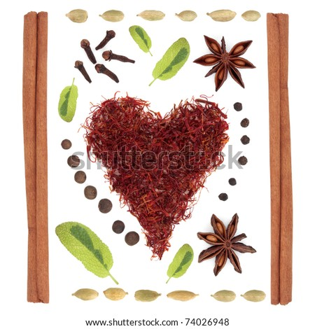 Spice and herb selection of cinnamon sticks, clove, peppercorn, star anise, cardamom, allspice and variegated sage leaf sprigs in abstract design, over white background. - stock photo