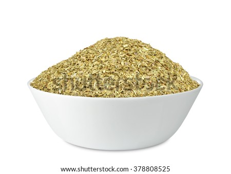 spice basil in a bowl isolated on white background - stock photo
