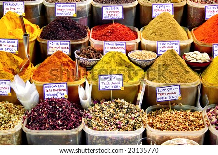 Spice baskets on a market of Istanbul - stock photo