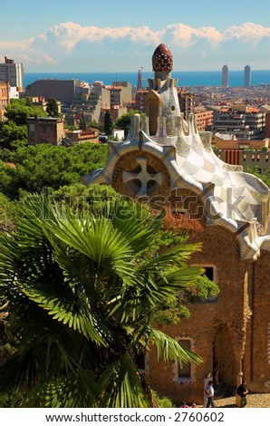 Spice-cake house in Park Guell by Antoni Gaudi, Barcelona, Spain - stock photo