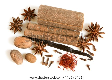 Spice collection on a white background - stock photo