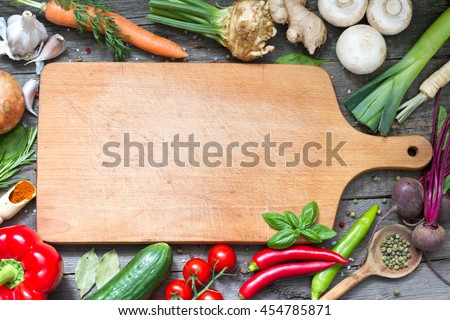 Charming Spice Herbs And Vegetables Frame Food Background And Empty Cutting Board