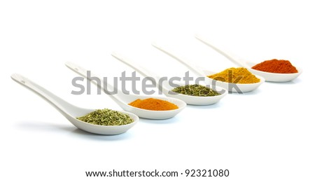 spice in ceramic spoon isolated on white background - stock photo