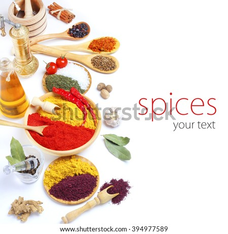 Spice in Wooden Spoon isolated white background - stock photo