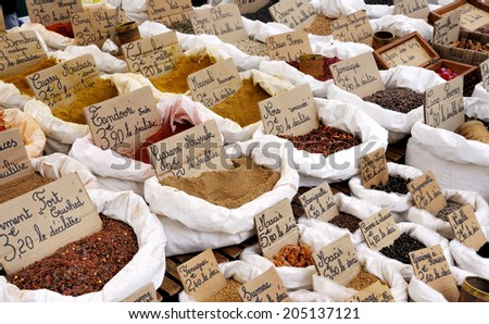 Spice Market in France with various spice flavors - stock photo