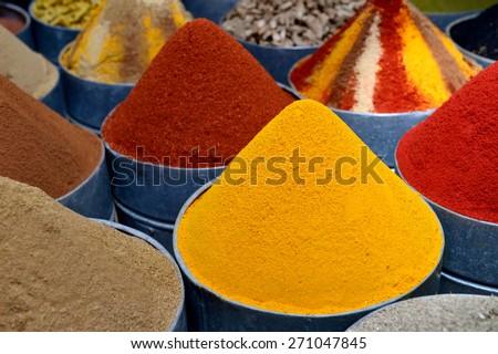 Spice market in Morocco - stock photo