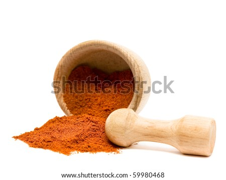 Spice of pepper or turmeric isolated on white background - stock photo