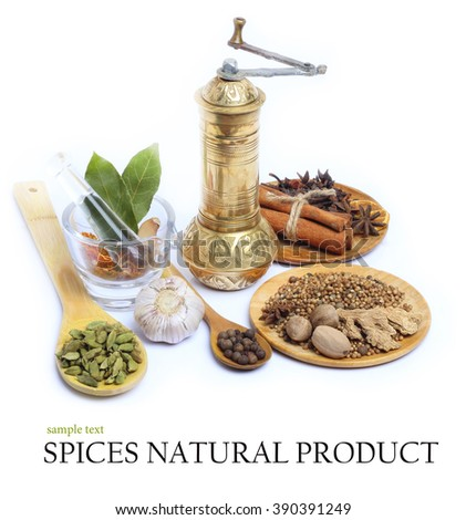 Spice pepper garlic salt Bay leaf in Wooden Spoon isolated white background - stock photo