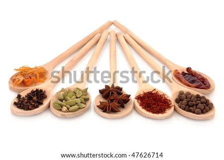 Spice selection of mace, cloves, cardamom pods, star anise, saffron, allspice and chillies in wooden spoons, isolated over white background.