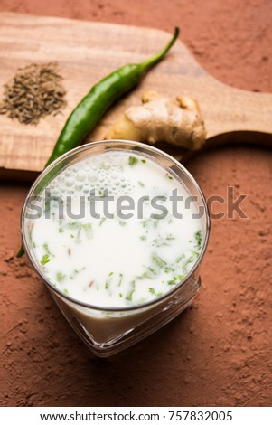 Spiced buttermilk, chaas,  chaach, taak, or curd drink for summer in India