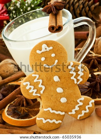 Spiced milk and homemade gingerbread cookie for Santa. Shallow dof. - stock photo