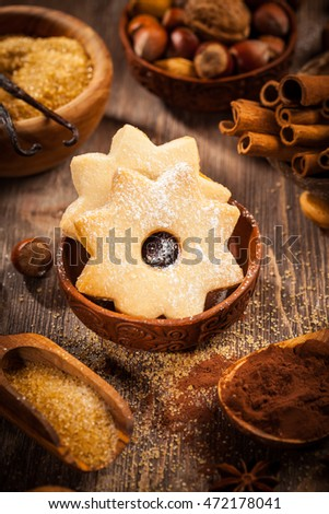 Spices and baking ingredients for Christmas cookies
