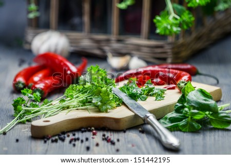 Spices and fresh herbs on cutting board - stock photo