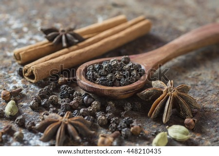 Spices and herbs. Food and cuisine ingredients.   - stock photo