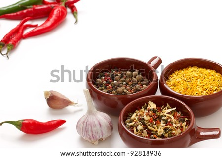 Spices and herbs in bowls. Natural additives.