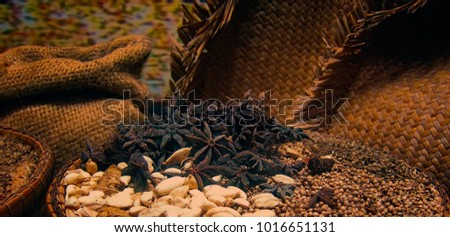 Spices and Herbs in Jute Sack. Ancient vintage packing of spices for transportation.