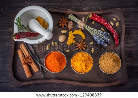 Spices and herbs in vintage style - stock photo