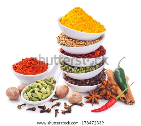 spices and herbs isolated on white background - stock photo