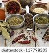 Spices And Herbs On A Wooden Table - stock photo