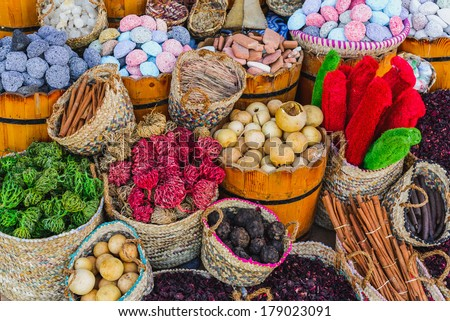 Spices and herbs on market - stock photo