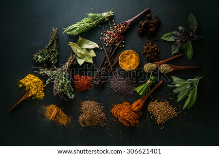 Spices and herbs. Variety of spices and mediterranean herbs. Food background - stock photo