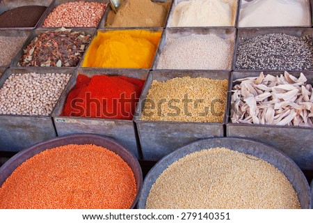 Spices and pulses on sale in Jodphur market in Rajasthan, India - stock photo