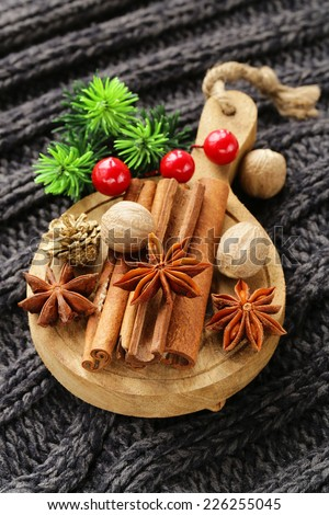 spices anise, cinnamon, nutmeg on warm knitted background - stock photo