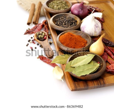 Spices Assortment On A Cutting Board, Close Up - stock photo