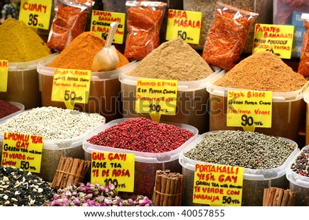 Spices at market place - stock photo