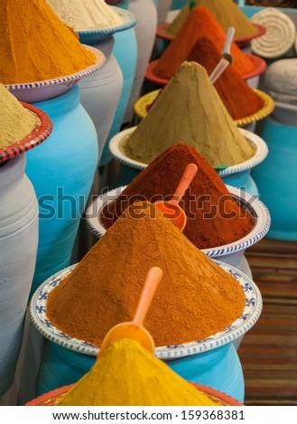 Spices at the market Marrakech, Morocco - stock photo