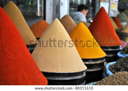 Spices at the market  Marrakesh, Morocco - stock photo