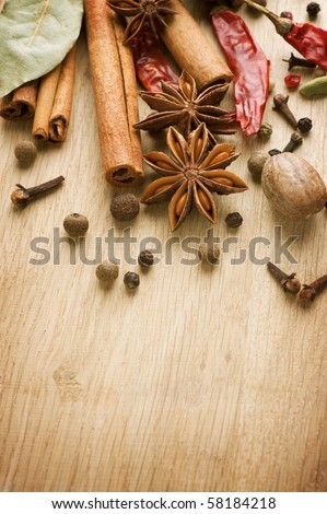 Spices border.With copy space - stock photo