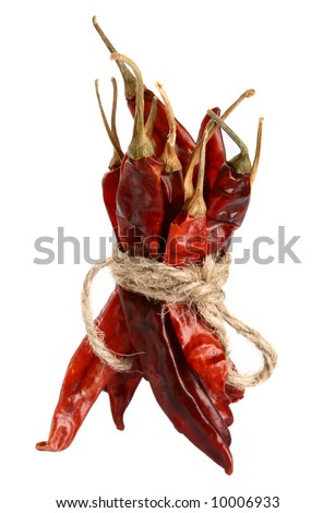 spices - bunch of dried red hot chilli chillies pepper - stock photo
